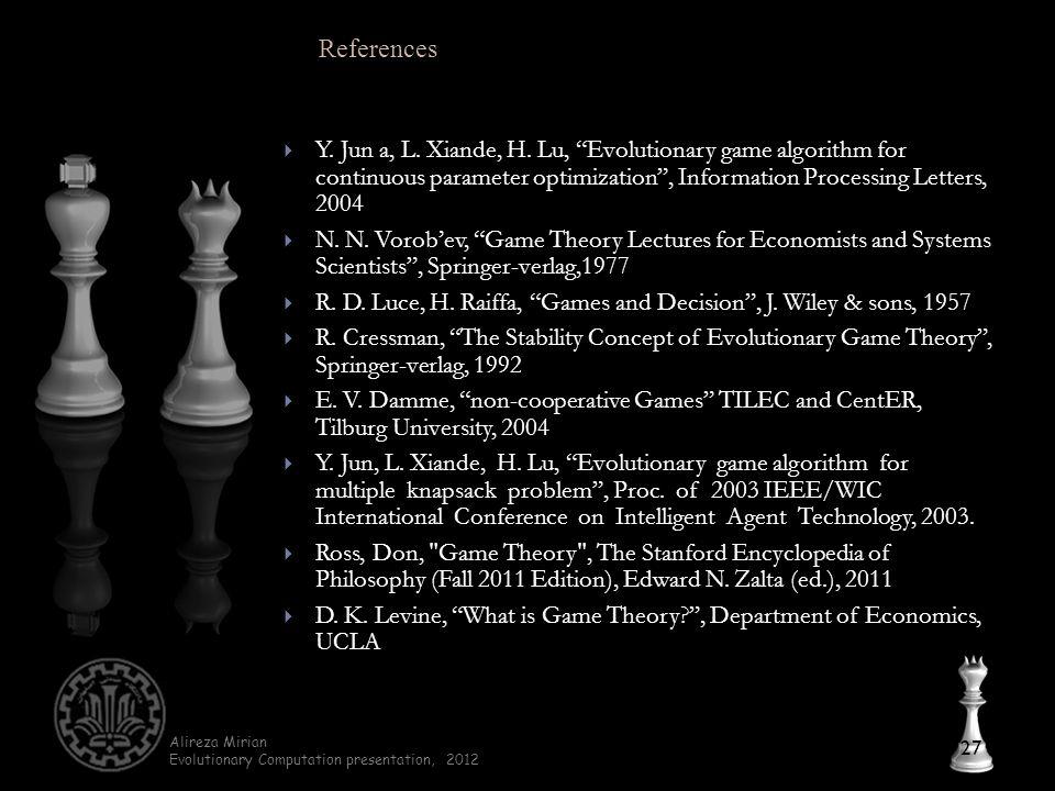 Alireza Mirian Evolutionary Computation presentation, 2012  Y.