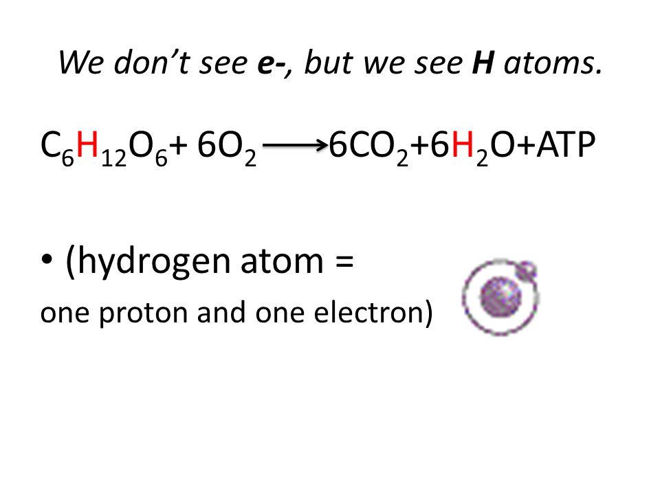 We don't see e-, but we see H atoms.
