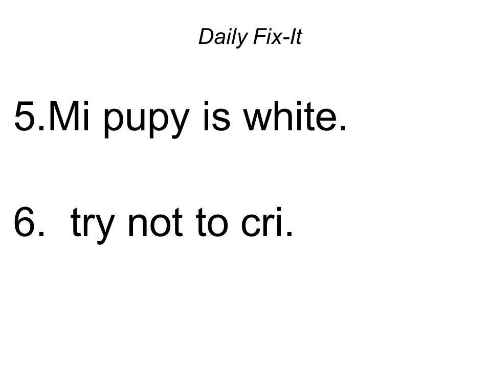 Daily Fix-It 5.Mi pupy is white. 6. try not to cri.