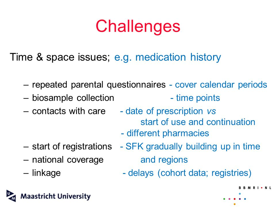 Challenges Time & space issues; e.g.