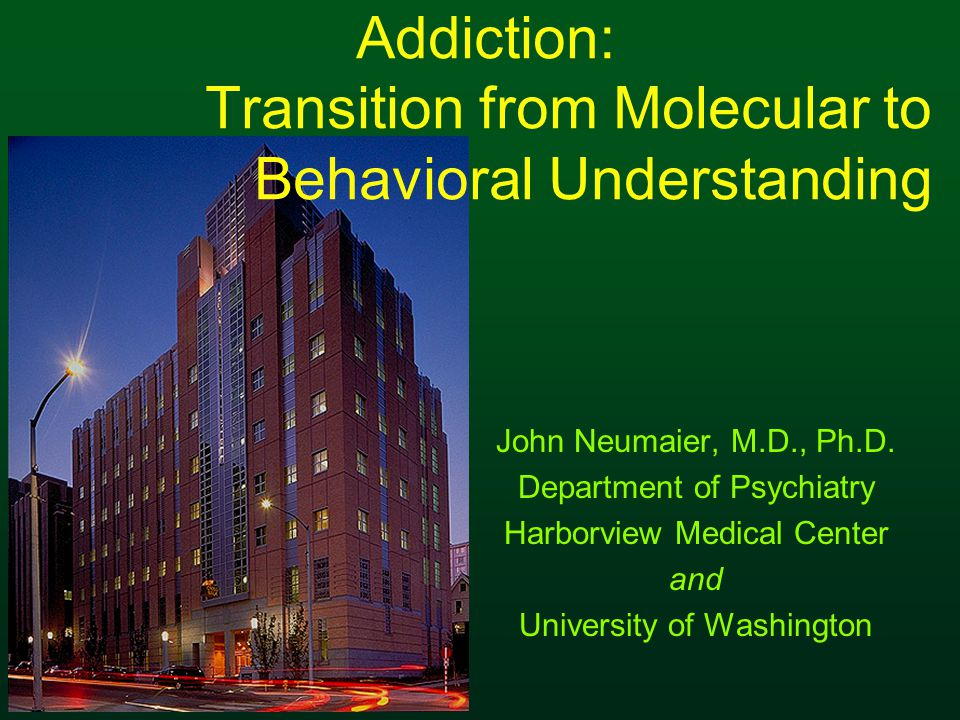 Addiction: Transition from Molecular to Behavioral Understanding John Neumaier, M.D., Ph.D.