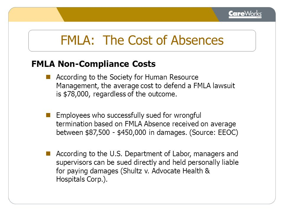 FMLA Non-Compliance Costs According to the Society for Human Resource Management, the average cost to defend a FMLA lawsuit is $78,000, regardless of the outcome.