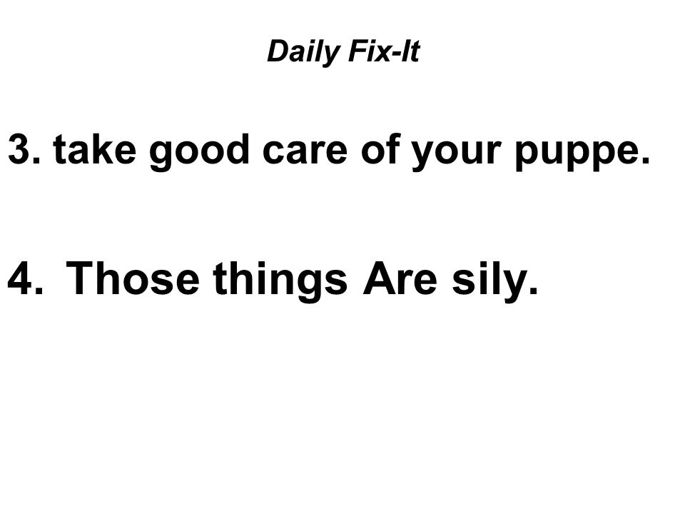 Daily Fix-It 3.take good care of your puppe. 4. Those things Are sily.