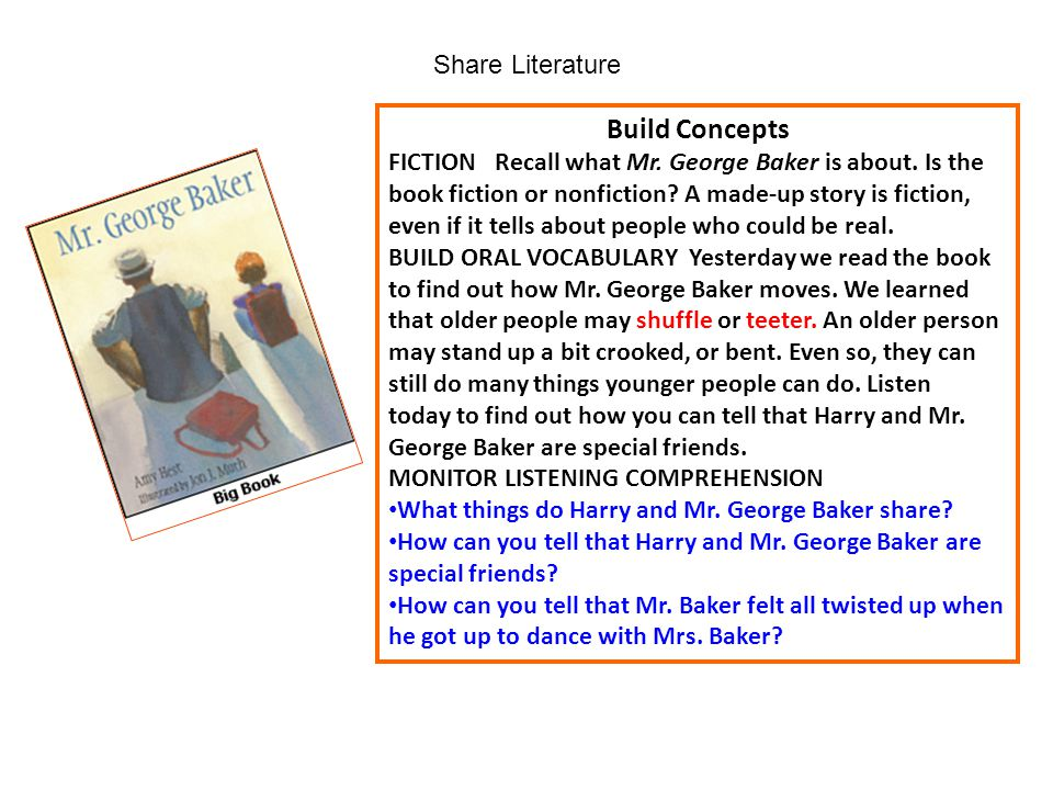Share Literature Build Concepts FICTION Recall what Mr. George Baker is about. Is the book fiction or nonfiction? A made-up story is fiction, even if