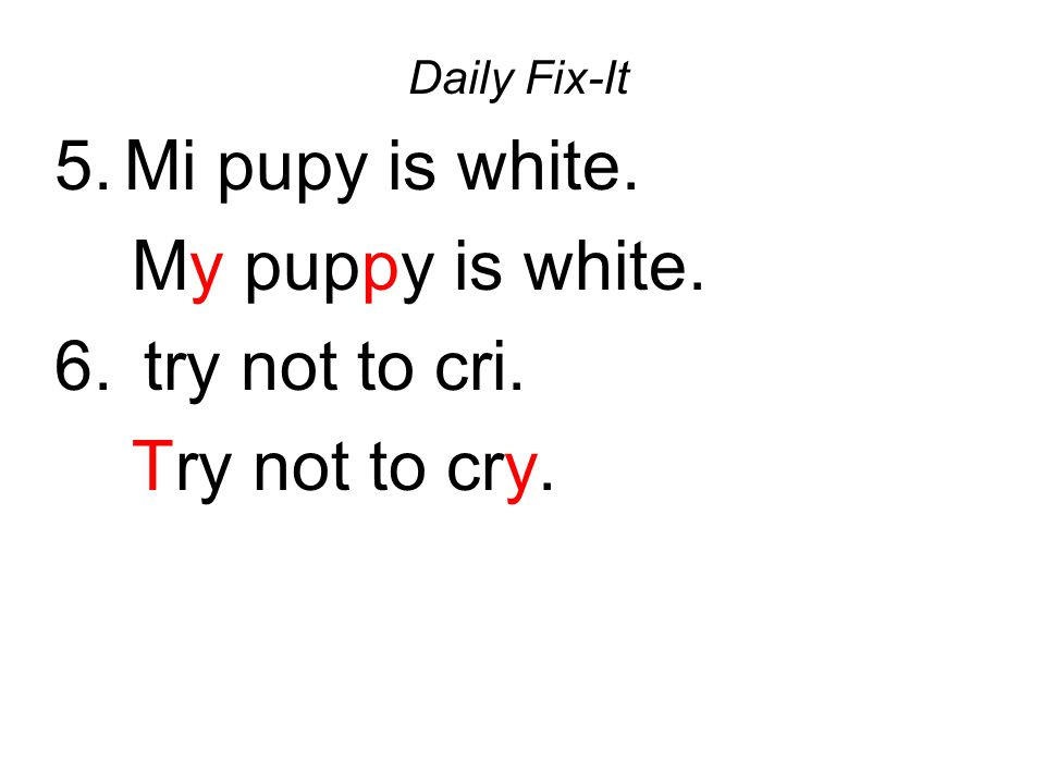 Daily Fix-It 5.Mi pupy is white. My puppy is white. 6. try not to cri. Try not to cry.