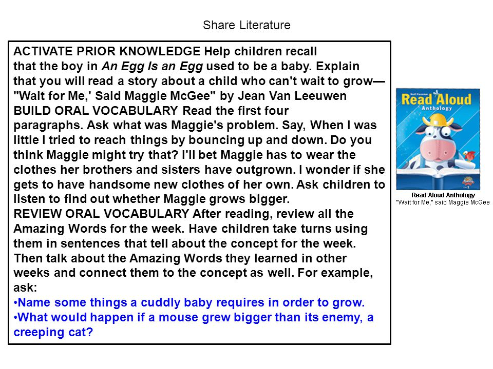 Share Literature ACTIVATE PRIOR KNOWLEDGE Help children recall that the boy in An Egg Is an Egg used to be a baby. Explain that you will read a story