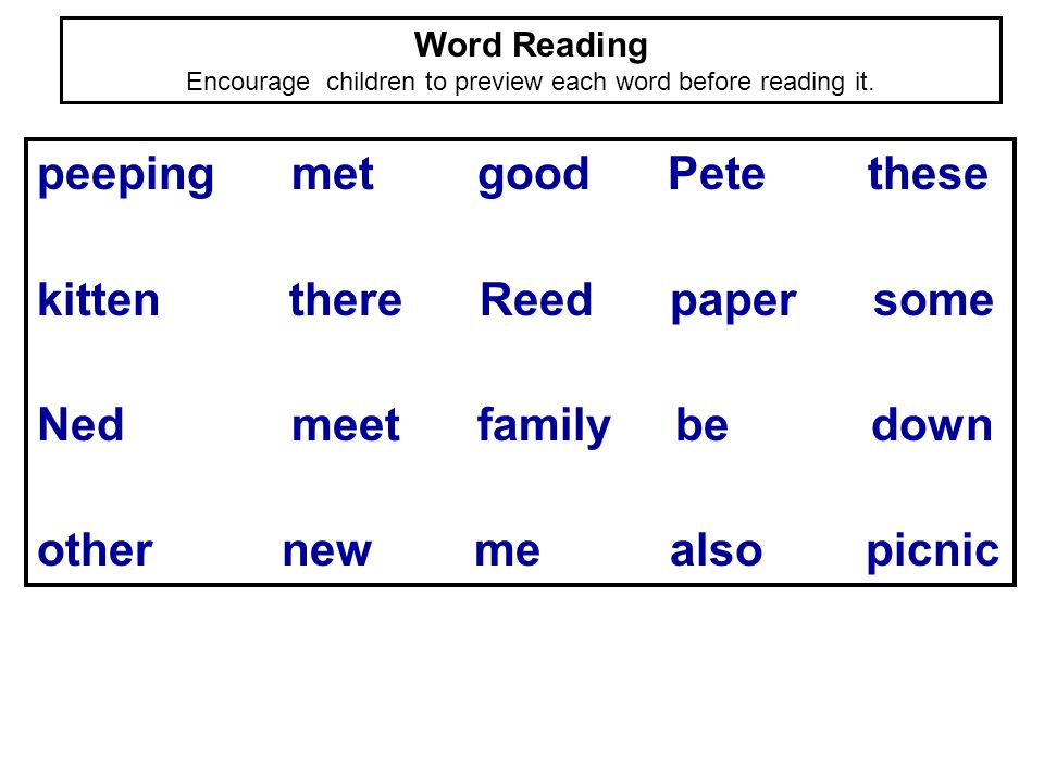 Word Reading Encourage children to preview each word before reading it. peeping met good Pete these kitten there Reed paper some Ned meet family be do