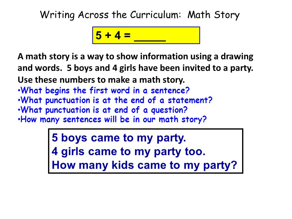 Writing Across the Curriculum: Math Story 5 boys came to my party. 4 girls came to my party too. How many kids came to my party? 5 + 4 = _____ A math