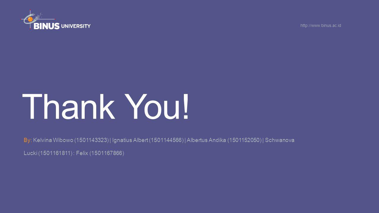 Thank You! By: Kelvina Wibowo (1501143323)   Ignatius Albert (1501144566)   Albertus Andika (1501152050)   Schwanova Lucki (1501161811) : Felix (15011