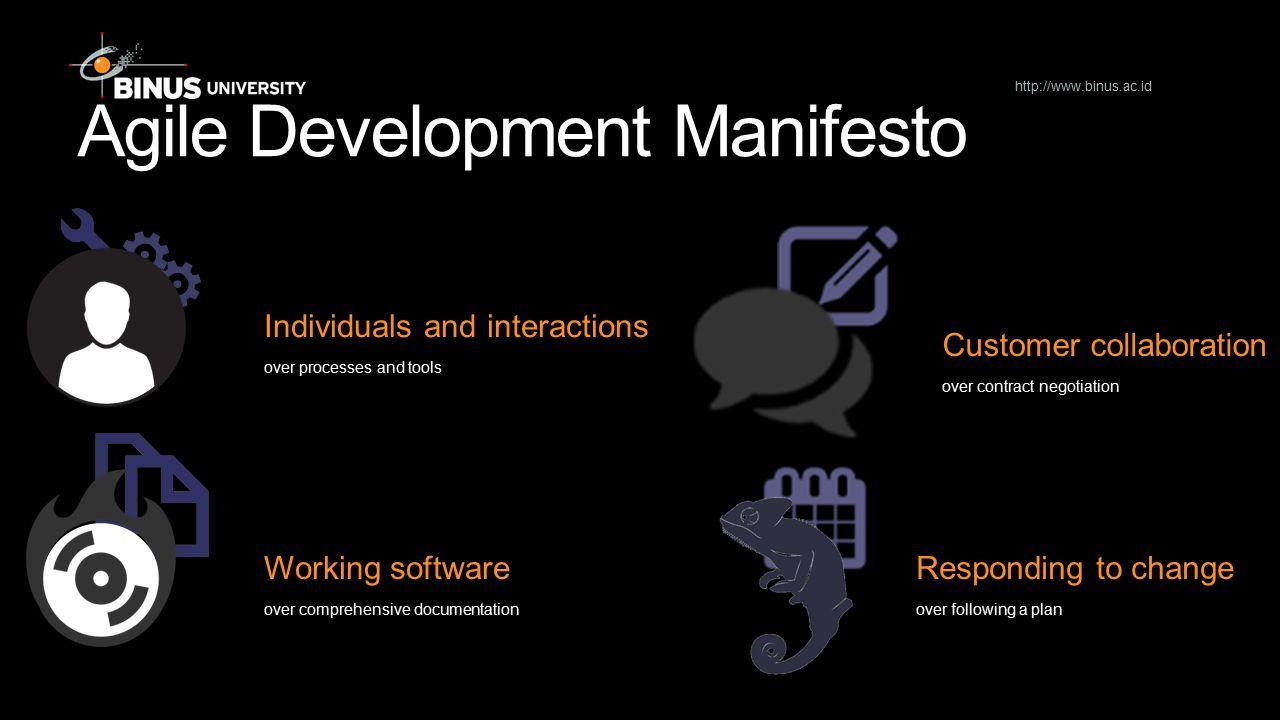 Steps in Agile Development Iterative and incremental modelling Teamwork Simplicity Validation Documentation Motivation http://www.binus.ac.id Nah, JK lol