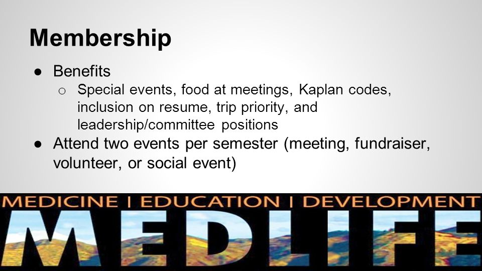 Membership ●Benefits o Special events, food at meetings, Kaplan codes, inclusion on resume, trip priority, and leadership/committee positions ●Attend