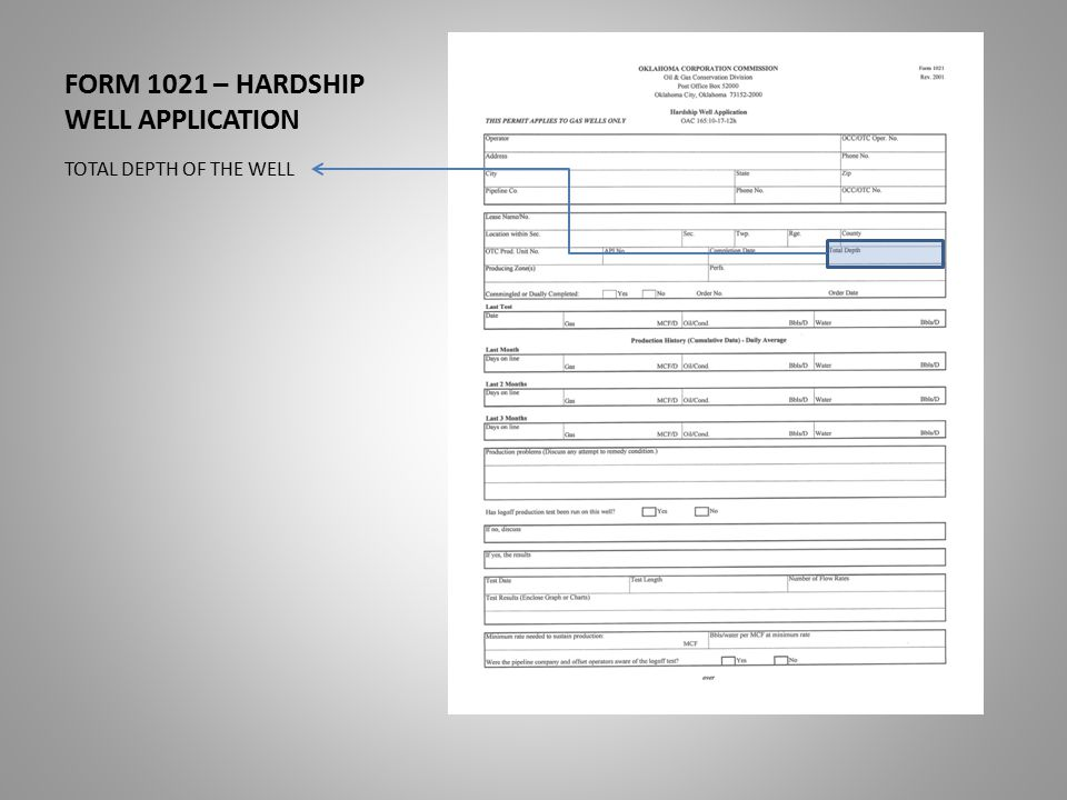 FORM 1021 – HARDSHIP WELL APPLICATION TOTAL DEPTH OF THE WELL