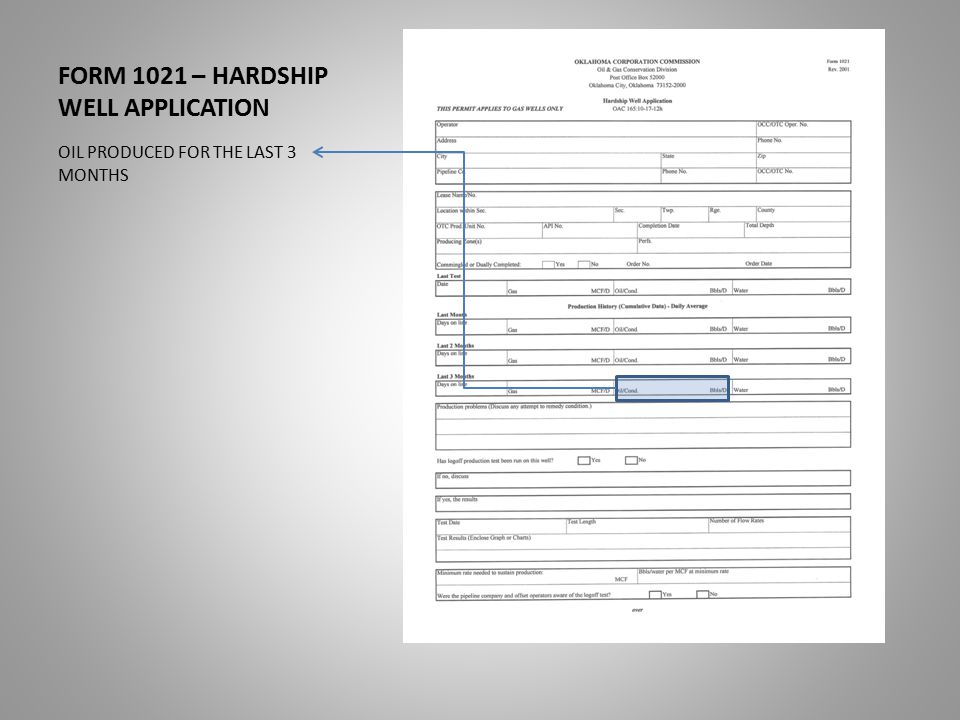 FORM 1021 – HARDSHIP WELL APPLICATION OIL PRODUCED FOR THE LAST 3 MONTHS