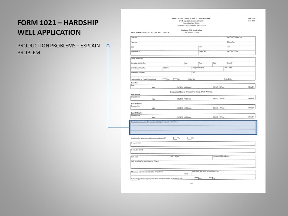 FORM 1021 – HARDSHIP WELL APPLICATION PRODUCTION PROBLEMS – EXPLAIN PROBLEM