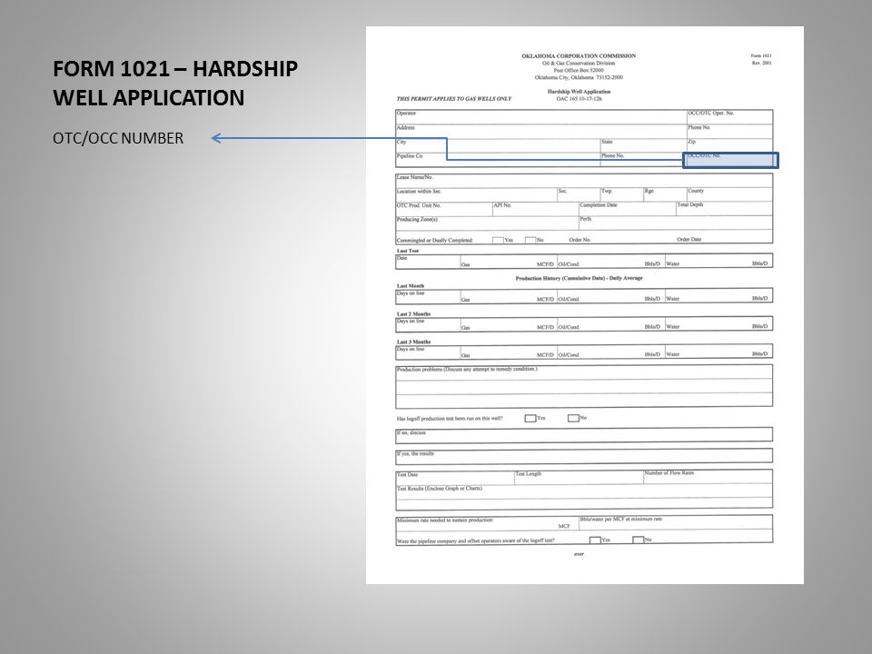 FORM 1021 – HARDSHIP WELL APPLICATION OTC/OCC NUMBER