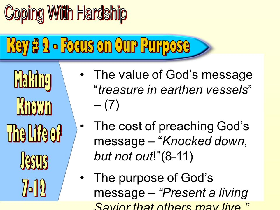 Gives us the strength to overcome our hardships – (13; 1 John 5:4)  Faith comes by hearing – (13; Rom.