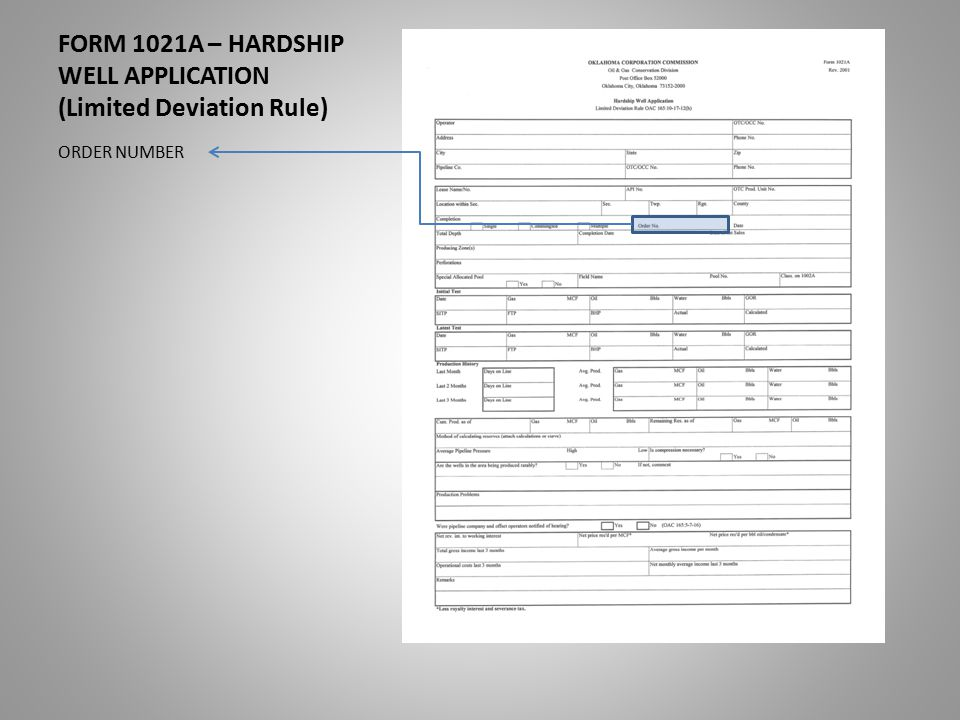 FORM 1021A – HARDSHIP WELL APPLICATION (Limited Deviation Rule) ORDER NUMBER