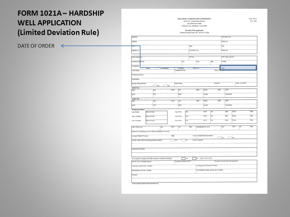 FORM 1021A – HARDSHIP WELL APPLICATION (Limited Deviation Rule) DATE OF ORDER