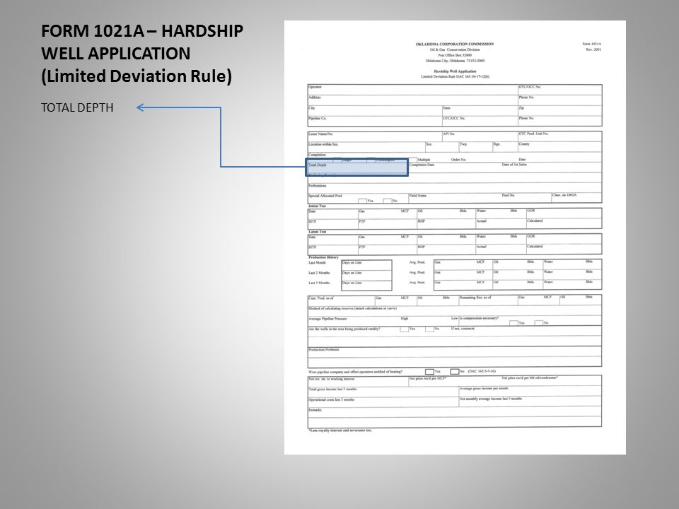 FORM 1021A – HARDSHIP WELL APPLICATION (Limited Deviation Rule) TOTAL DEPTH