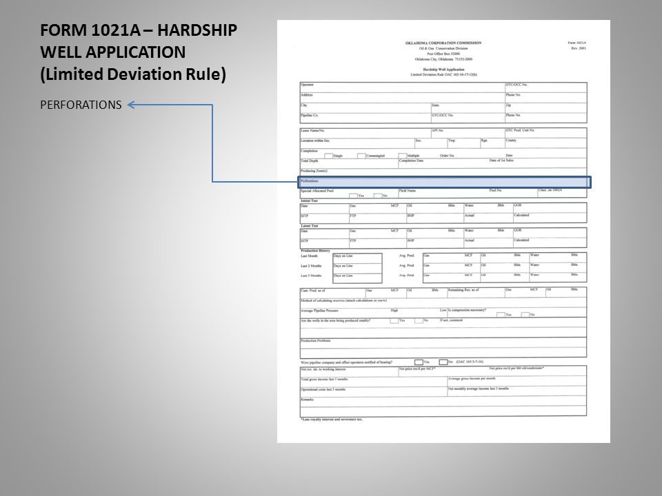 FORM 1021A – HARDSHIP WELL APPLICATION (Limited Deviation Rule) PERFORATIONS