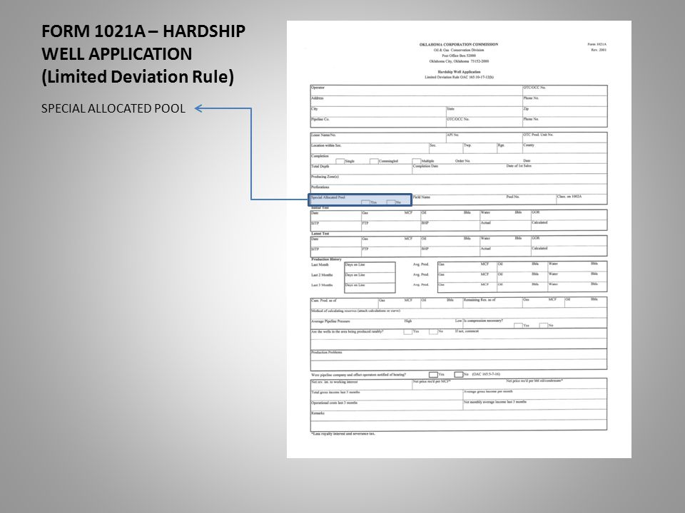 FORM 1021A – HARDSHIP WELL APPLICATION (Limited Deviation Rule) SPECIAL ALLOCATED POOL