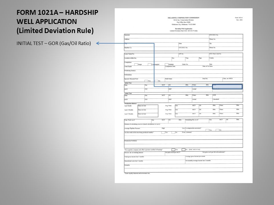 FORM 1021A – HARDSHIP WELL APPLICATION (Limited Deviation Rule) INITIAL TEST – GOR (Gas/Oil Ratio)