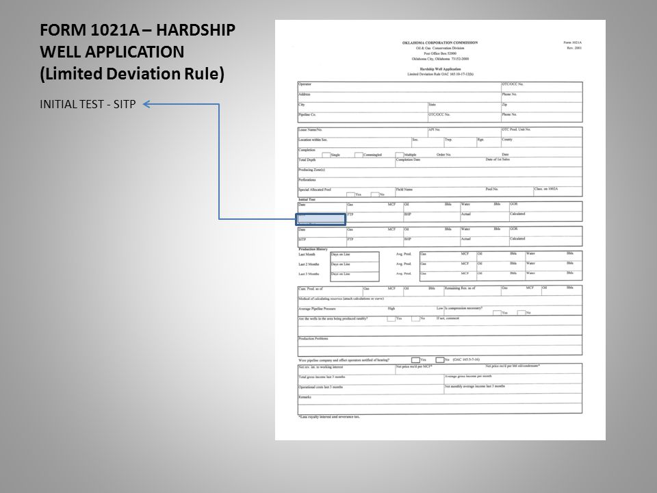 FORM 1021A – HARDSHIP WELL APPLICATION (Limited Deviation Rule) INITIAL TEST - SITP