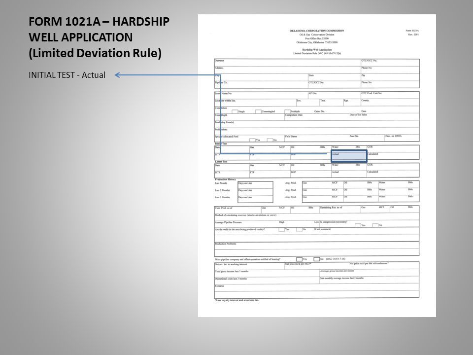 FORM 1021A – HARDSHIP WELL APPLICATION (Limited Deviation Rule) INITIAL TEST - Actual