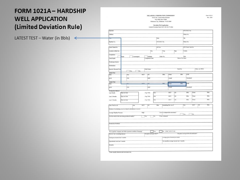 FORM 1021A – HARDSHIP WELL APPLICATION (Limited Deviation Rule) LATEST TEST – Water (in Bbls)