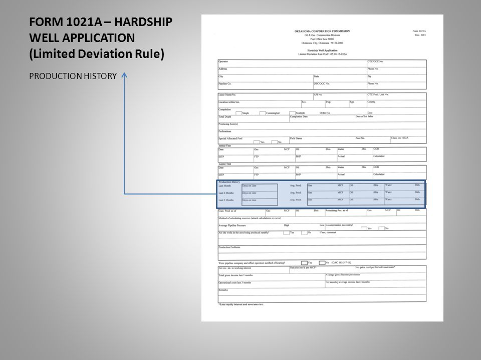 FORM 1021A – HARDSHIP WELL APPLICATION (Limited Deviation Rule) PRODUCTION HISTORY