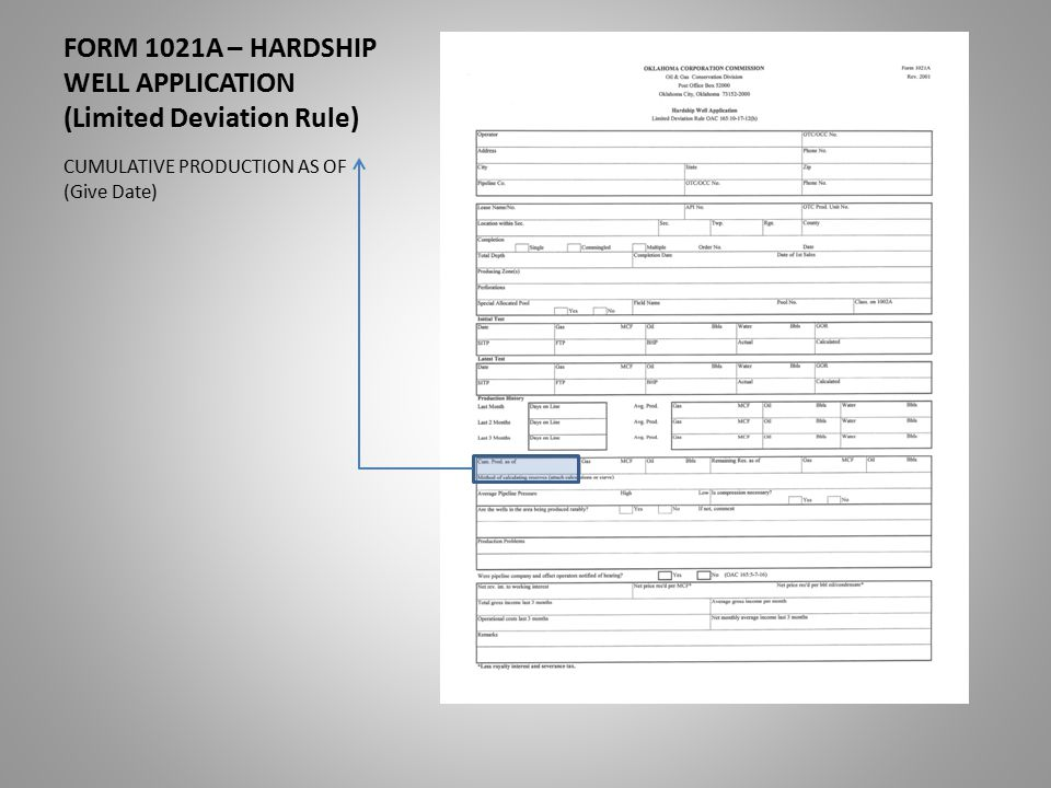 FORM 1021A – HARDSHIP WELL APPLICATION (Limited Deviation Rule) CUMULATIVE PRODUCTION AS OF (Give Date)