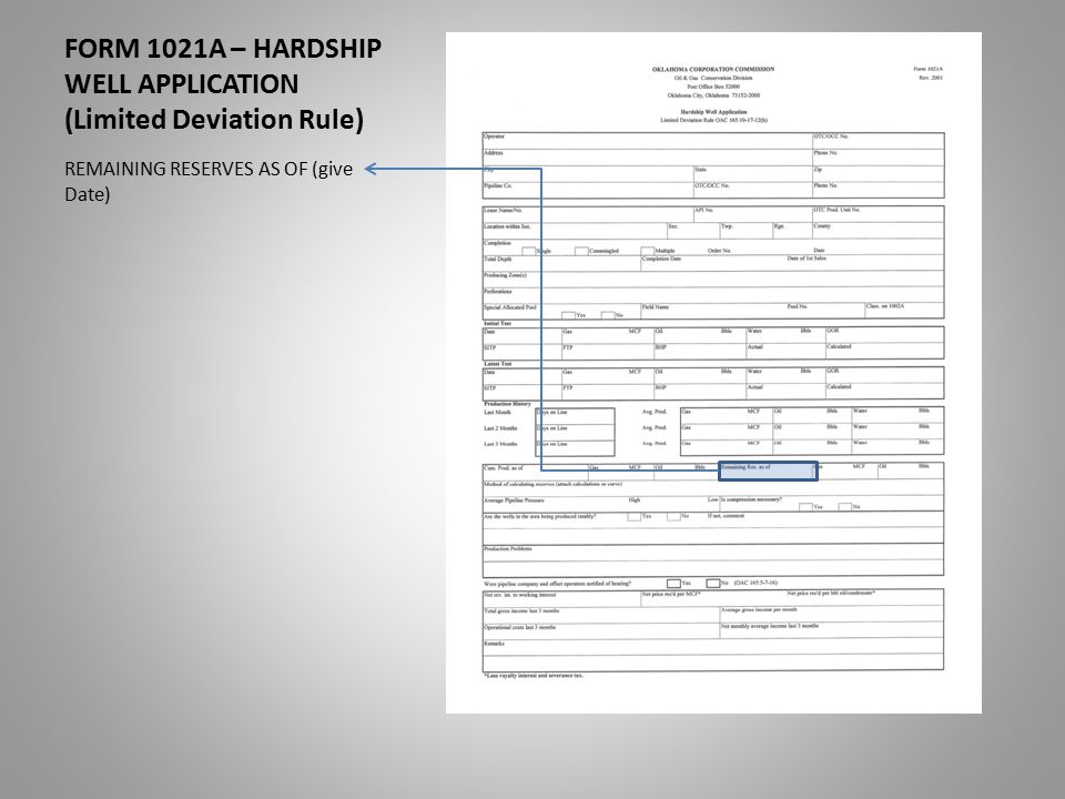 FORM 1021A – HARDSHIP WELL APPLICATION (Limited Deviation Rule) REMAINING RESERVES AS OF (give Date)