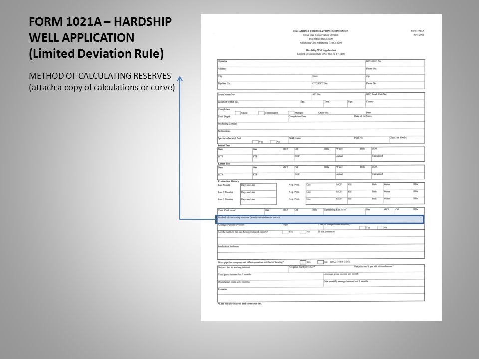 FORM 1021A – HARDSHIP WELL APPLICATION (Limited Deviation Rule) METHOD OF CALCULATING RESERVES (attach a copy of calculations or curve)