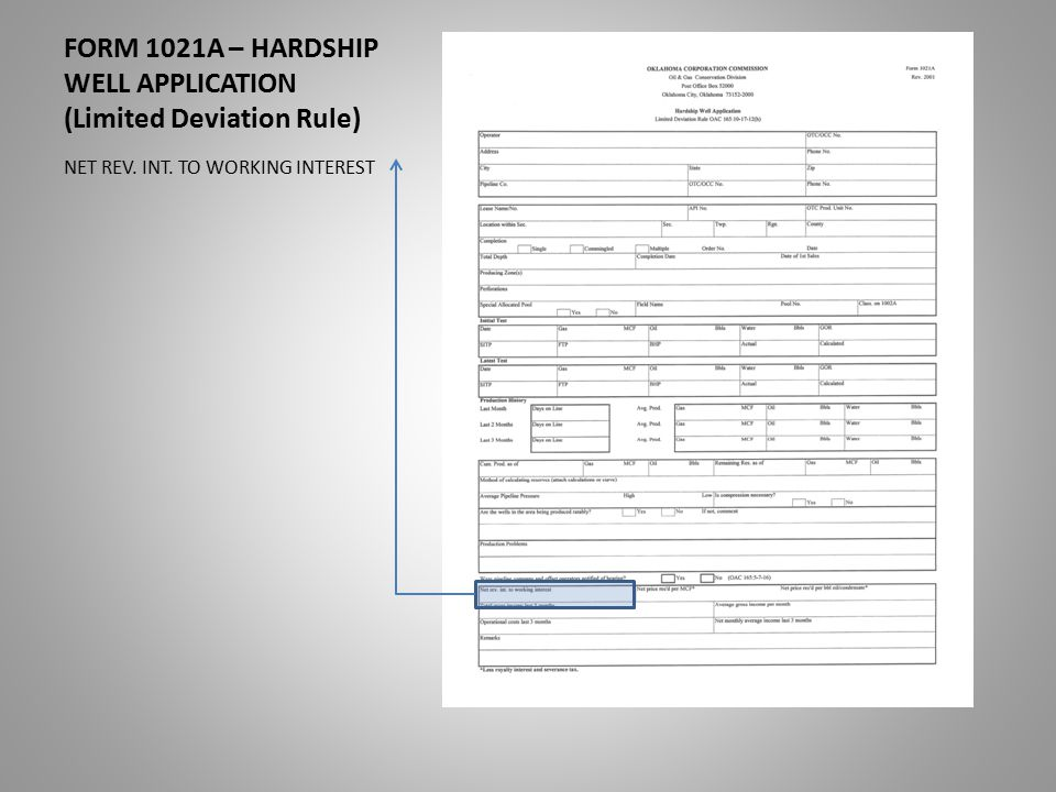 FORM 1021A – HARDSHIP WELL APPLICATION (Limited Deviation Rule) NET REV. INT. TO WORKING INTEREST