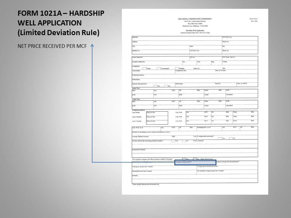 FORM 1021A – HARDSHIP WELL APPLICATION (Limited Deviation Rule) NET PRICE RECEIVED PER MCF