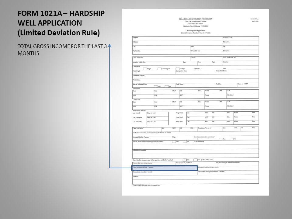 FORM 1021A – HARDSHIP WELL APPLICATION (Limited Deviation Rule) TOTAL GROSS INCOME FOR THE LAST 3 MONTHS