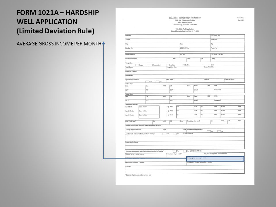 FORM 1021A – HARDSHIP WELL APPLICATION (Limited Deviation Rule) AVERAGE GROSS INCOME PER MONTH