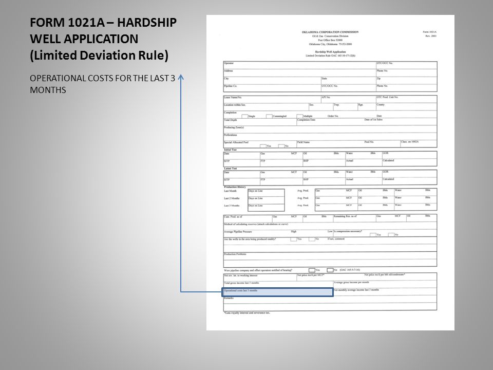 FORM 1021A – HARDSHIP WELL APPLICATION (Limited Deviation Rule) OPERATIONAL COSTS FOR THE LAST 3 MONTHS