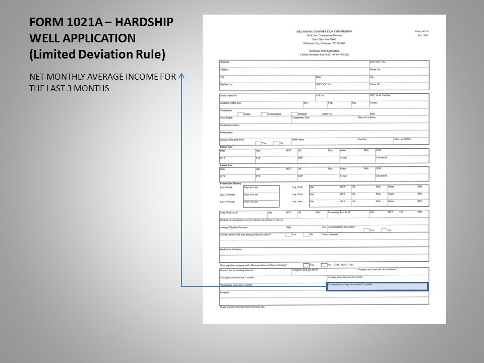 FORM 1021A – HARDSHIP WELL APPLICATION (Limited Deviation Rule) NET MONTHLY AVERAGE INCOME FOR THE LAST 3 MONTHS