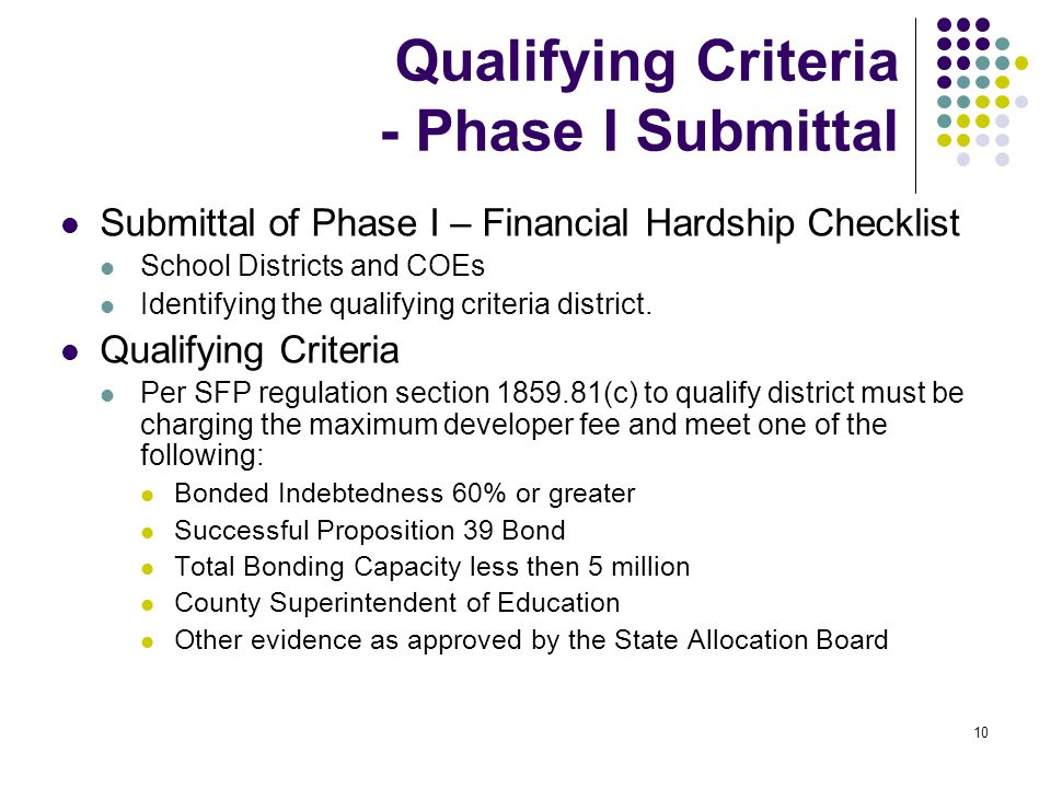 10 Qualifying Criteria - Phase I Submittal Submittal of Phase I – Financial Hardship Checklist School Districts and COEs Identifying the qualifying criteria district.