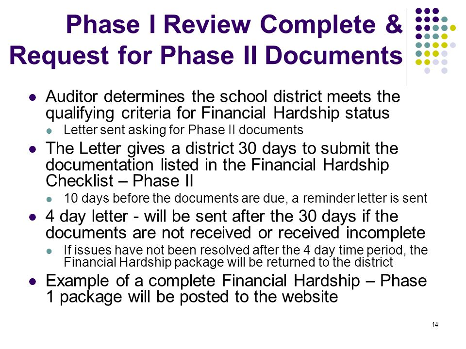 14 Phase I Review Complete & Request for Phase II Documents Auditor determines the school district meets the qualifying criteria for Financial Hardship status Letter sent asking for Phase II documents The Letter gives a district 30 days to submit the documentation listed in the Financial Hardship Checklist – Phase II 10 days before the documents are due, a reminder letter is sent 4 day letter - will be sent after the 30 days if the documents are not received or received incomplete If issues have not been resolved after the 4 day time period, the Financial Hardship package will be returned to the district Example of a complete Financial Hardship – Phase 1 package will be posted to the website