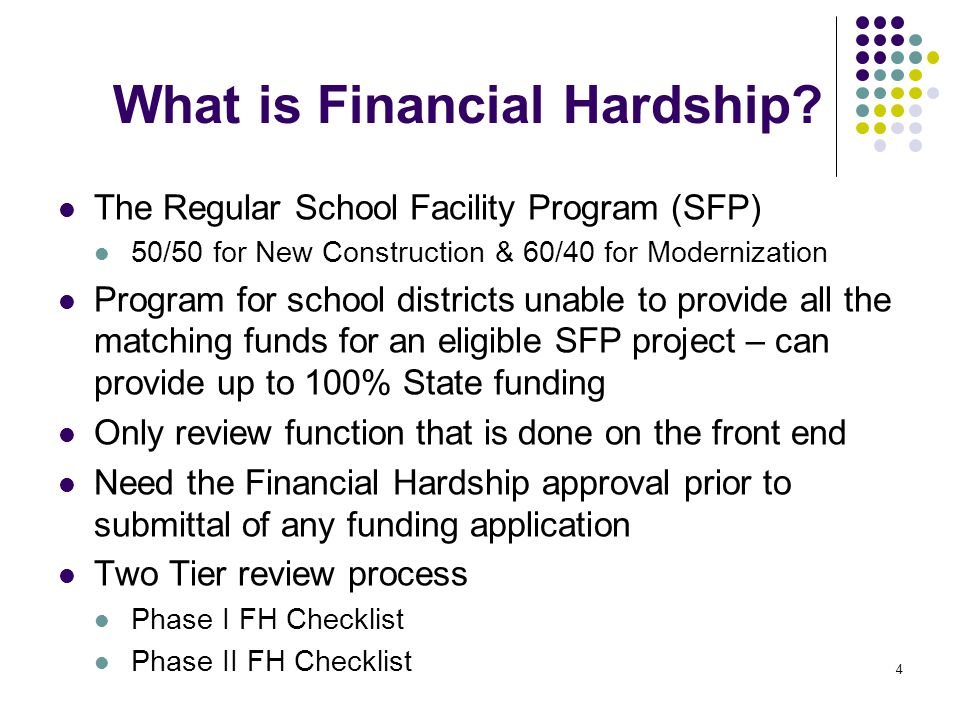 5 Submitting Your Financial Hardship Request The Financial Hardship (FH) team is available for any preliminary questions.