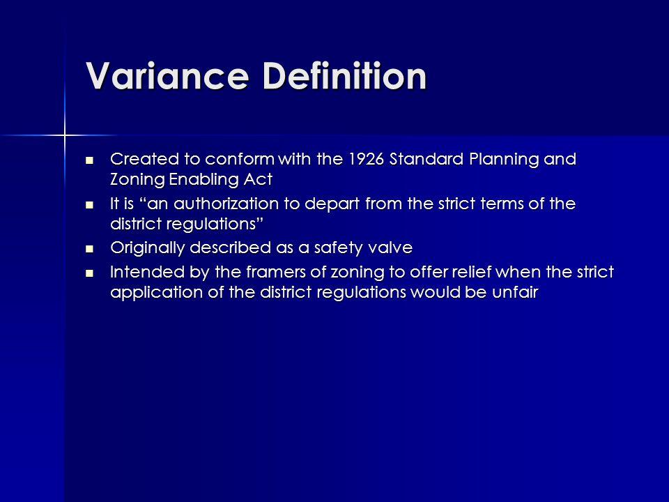 Variance – Uniform Application.