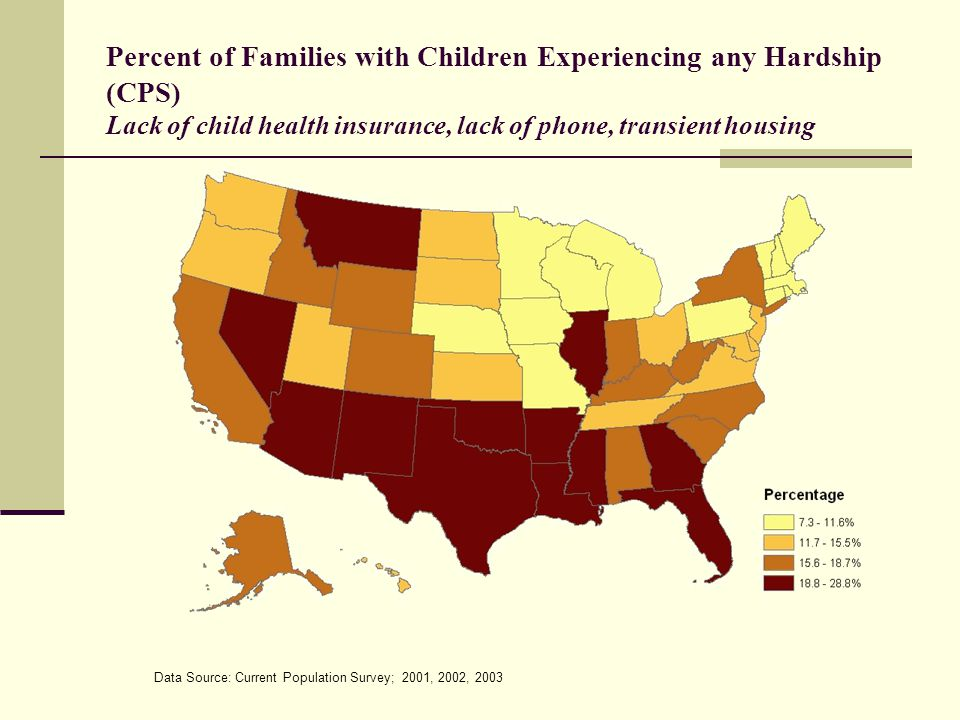 Percent of Families with Children Experiencing any Hardship (CPS) Lack of child health insurance, lack of phone, transient housing Data Source: Current Population Survey; 2001, 2002, 2003