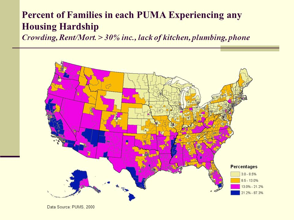 Percent of Families in each PUMA Experiencing any Housing Hardship Crowding, Rent/Mort.
