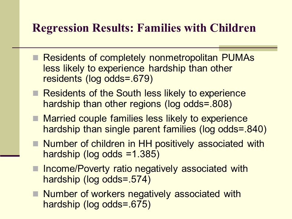 Regression Results: Families with Children Residents of completely nonmetropolitan PUMAs less likely to experience hardship than other residents (log odds=.679) Residents of the South less likely to experience hardship than other regions (log odds=.808) Married couple families less likely to experience hardship than single parent families (log odds=.840) Number of children in HH positively associated with hardship (log odds =1.385) Income/Poverty ratio negatively associated with hardship (log odds=.574) Number of workers negatively associated with hardship (log odds=.675)