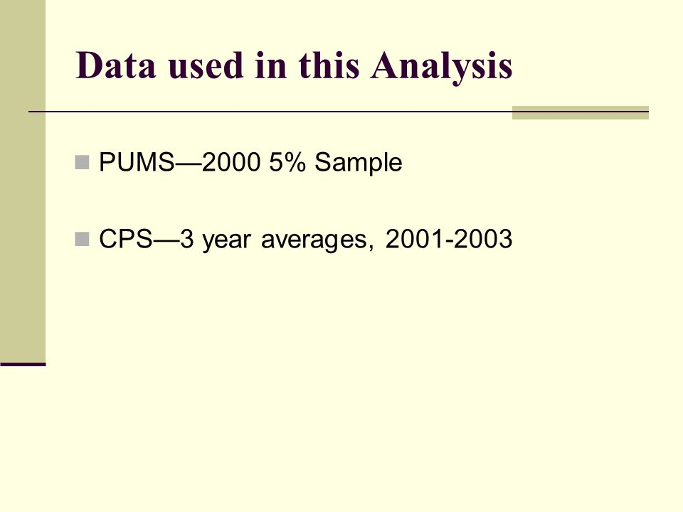 Data used in this Analysis PUMS—2000 5% Sample CPS—3 year averages, 2001-2003