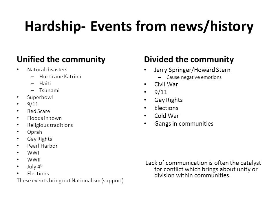 Hardship- Events from news/history Unified the community Natural disasters – Hurricane Katrina – Haiti – Tsunami Superbowl 9/11 Red Scare Floods in to
