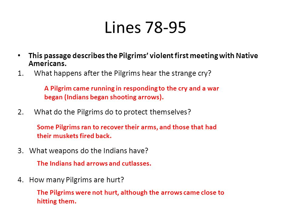 Lines 78-95 This passage describes the Pilgrims' violent first meeting with Native Americans. 1.What happens after the Pilgrims hear the strange cry?
