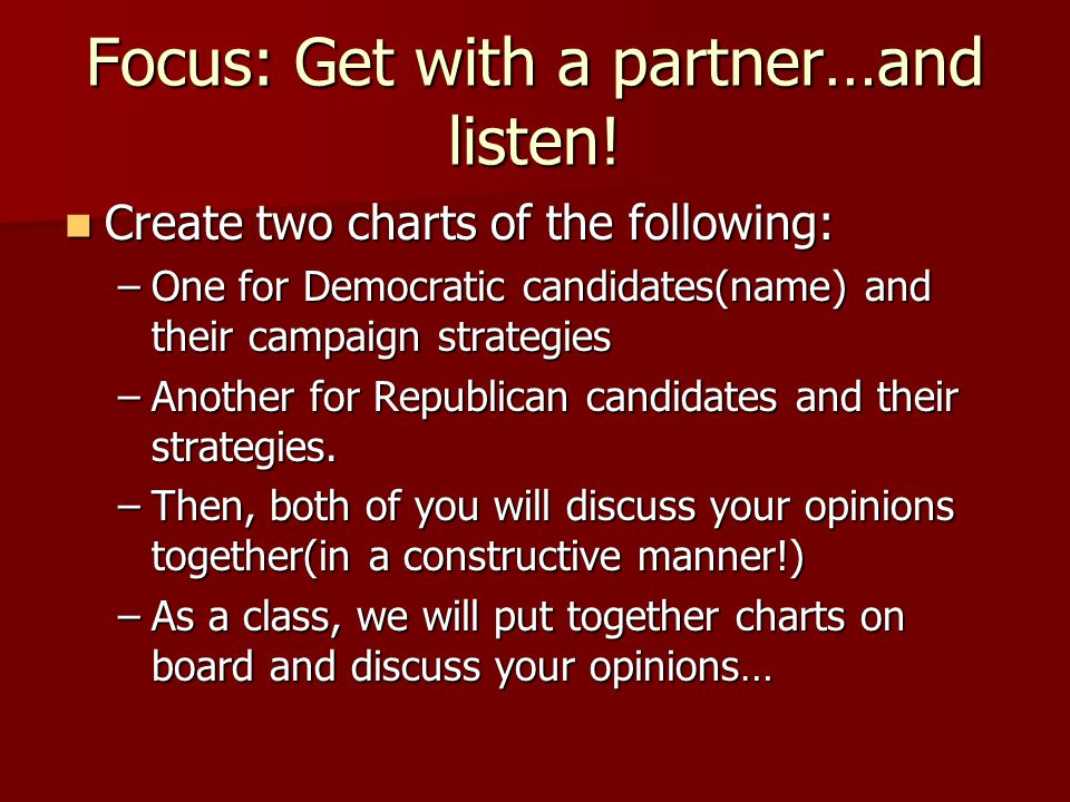 Focus: Get with a partner…and listen.